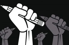 Clenched fist held in protest vector illustration.